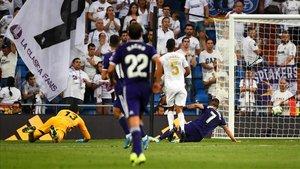 Sergi Guardiola igualó con este remate el marcador entre el Real Madrid y el Celta