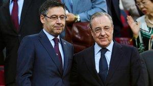 Bartomeu y Florentino, durante un Barça-Madrid en el Camp Nou