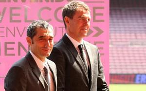 Ernesto Valverde y Robert Fernández trabajan codo con codo en el FC Barcelona