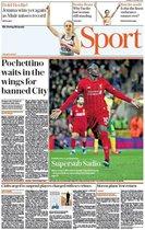 Esta es la portada de The Telegrahp Sport del domingo 16 de febrero