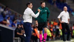 Gallego dirigiendo al equipo frente al Zorya