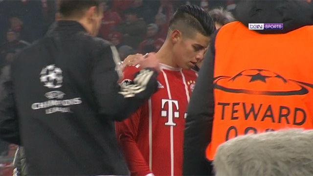 LACHAMPIONS | Bayern - Besiktas (5-0): James no pudo continuar tras un pelotazo de Müller