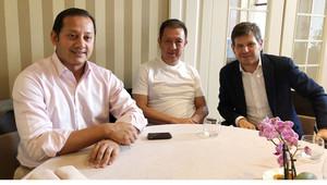 Lim, Murthy y Alemany durante la reunión de este lunes en Turín