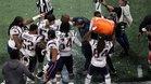 Los Patriots, durante la celebración del título