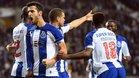 Marcano celebra su gol con sus compañeros