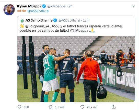 Mensaje de agradecimiento al Saint Etienne