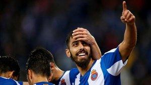 Borja Iglesias celebra su último tanto conseguido con el Espanyol