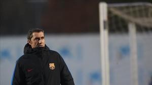 Ernesto Valverde, en la sesión previa al partido ante el Espanyol