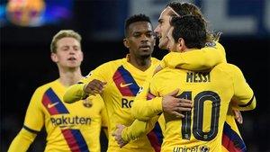 Griezmann se abrazó a Messi tras marcar el empate