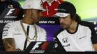 Hamilton y Alonso, en la rueda de prensa del pasado jueves