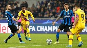 Las mejores imágenes del partido entre el Inter de Milán y el FC Barcelona del grupo F de la Champions League disputado en el estadio Giuseppe Meazza en Milán. Ansu Fati