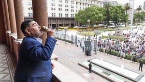 Maradona, en la Casa Rosada cuando fue campeón del mundo