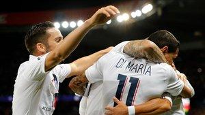 Di Maria celebra uno de los goles dle PSG contra el Real Madrid