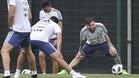 Messi, durante el entrenamiento de la albiceleste