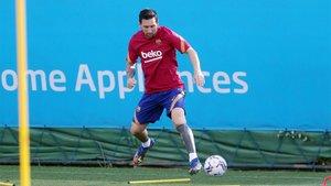 Messi en el entrenamiento matinal
