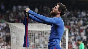 Messi, en el último clásico en el Bernabéu