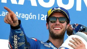 Rins, ayer en el podio del GP de Aragón