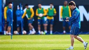 Rubi, entrenador del Espanyol, en el entrenamiento