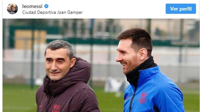 La imagen de Messi y Valverde en Instagram