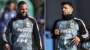 Gonzalo Higuaín y Sergio Agüero, los delanteros entre los que debe escoger Sampaoli para el debut de Argentina contra Islandia