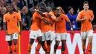 Holanda celebrando el gol de Depay