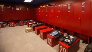 Imagen de archivo del vestuario del FC Barcelona en el Camp Nou