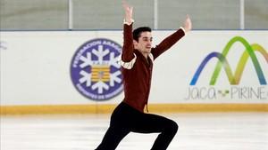 Javier Fernández, durante su actuación en Jaca