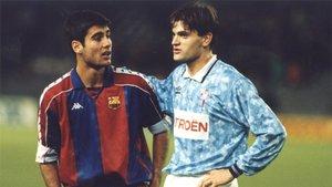 Josep Guardiola (izquierda) y Tito Vilanova en el Barça Celta de la Liga 1992/93 disputado en el Camp Nou el 3 de enero de 1993