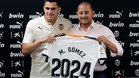 Maxi Gómez junto al presidente del Valencia, Anil Murthy