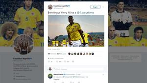 El mensaje de Asprilla en Twitter sobre el fichaje de Yerri Mina por el Barça no podía ser más contundente