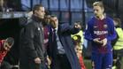 Valverde da instrucciones a Dembélé antes de su regreso en el Celta-Barça de Copa