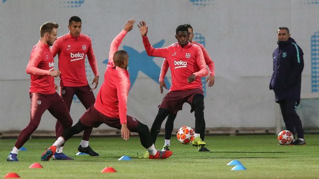 El Barça se ejercita por última vez antes del Lyon