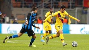 Carles Aleñá estuvo en permanente contacto con el balón ante el Inter