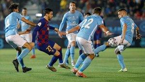 Carles Pérez pudo jugar ante el Ibiza sus últimos minutos como azulgrana