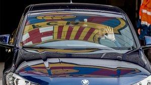 Ernesto Valverde a su salida de la Ciudad Deportiva del Barça este lunes