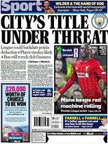 Esta es la portada de Mail Sport del domingo 16 de febrero