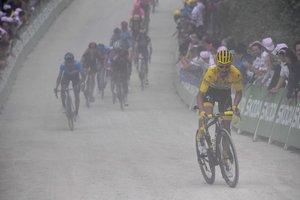 El francés Julián Alaphilippe de Deceuninck Quick Step en acción durante la 106ª edición de la carrera ciclista Tour de France en 160,5 km entre Mulhouse y La Planche des Belles Filles.