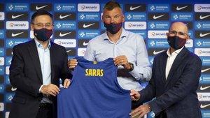 Jasikevicius ha sido presentado este unes como nuevo técnico del Barça