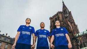 Los jugadores del Estrasburgo, con la camiseta