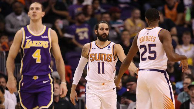 Los Lakers sobreviven a base de triples al terremoto de Ricky Rubio
