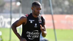 Marlon Santos, en un entrenamiento de la pasada temporada con el Niza