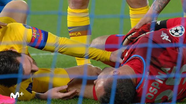 Messi y Ospina salieron dañados de un choque durante el partido
