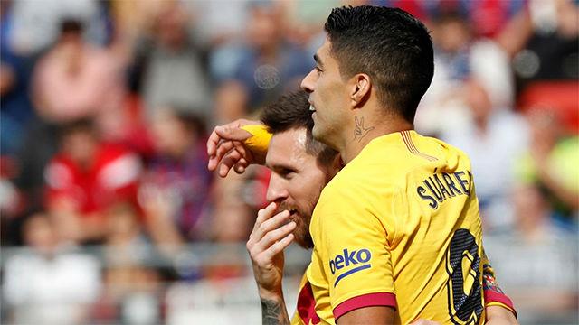 Messi le regaló el gol a Luis Suárez para sentenciar al Eibar