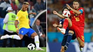 Neymar Junior y Eden Hazard en acción durante el Mundial de Rusia 2018