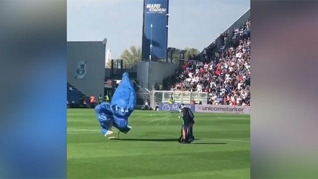 ¿Es un pájaro? ¿Es un avión? Un paracaidista cae al césped durante el Sassuolo - Inter