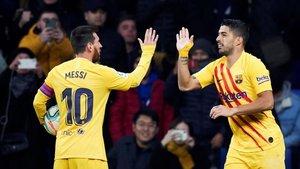 En una celebración con Messi