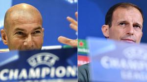 Zinedine Zidane, entrenador del Real Madrid, y Massimiliano Allegri, entrenador de la Juventus de Turín