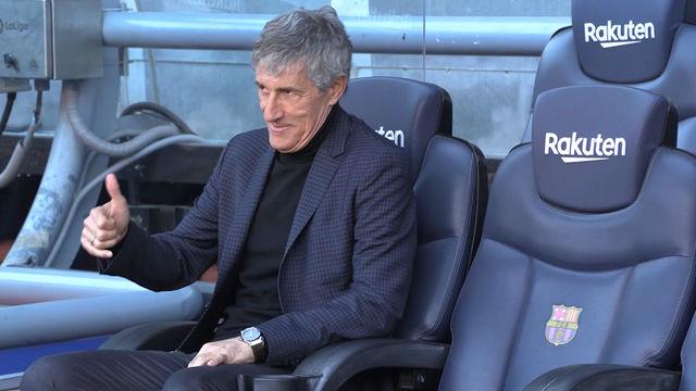 Así fue la primera toma de contacto de Quique Setién con el banquillo del Barça