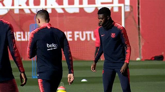 El Barça se preparó para el partido ante el Eibar a la espera de Vermaelen y Dembélé