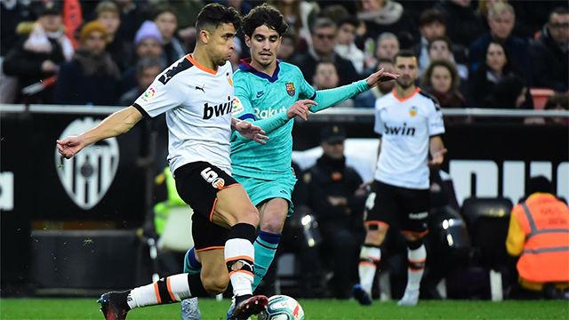 Collado disputó sus primeros minutos de la temporada en Mestalla